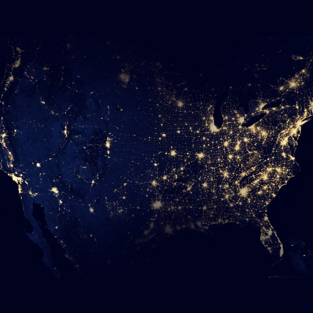 View of the entire United Sates from a birds eye view at night time
