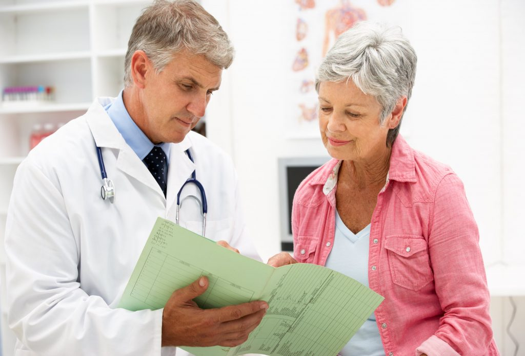 Doctor with women going over her test results